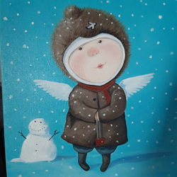 Лучший подарок на новый год картина маслом Ангелочек