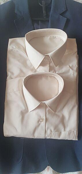 Блуза рубашка для девочек с длинным рукавом, цвет молочный, 7-9 лет.