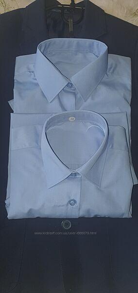 Блуза рубашка для девочек с длинным рукавом, цвет голубой, 7-9 лет