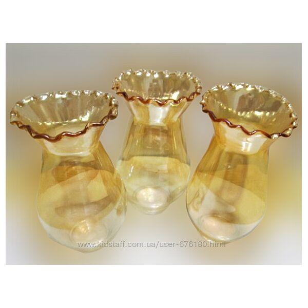 Набор милых перламутровых вазочек из цветного стекла