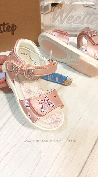 Кожаные босоножки для девочки фирма weestep польша рр. 21 22 23 24 25 26