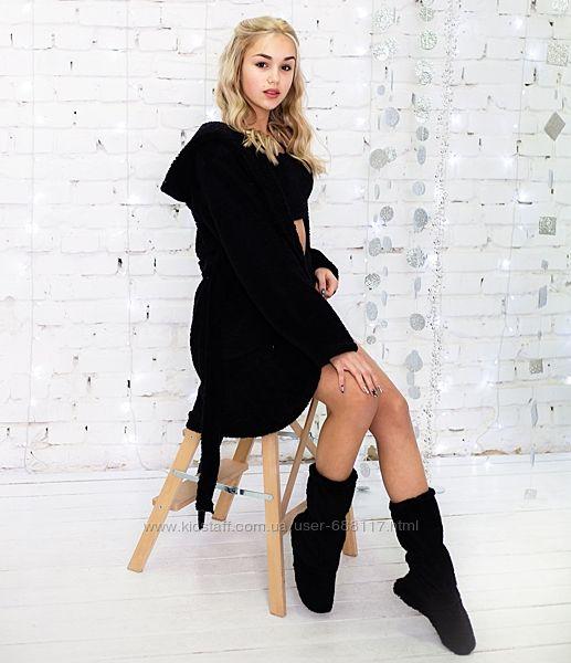 Халат тёплый на підлітка  Eirena Nadine Black 574 чорний