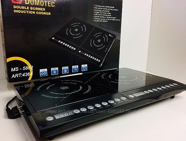 Плита Настольная Индукционная На 2 Конфорки Domotec MS-5862 4000W