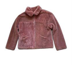 Меховая куртка шуба тедди оверсайз деми розовая М р.46