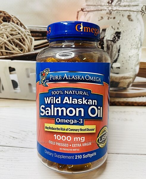 США Натуральный рыбий жир лосося PURE ALASKA Omega Wild Salmon Oil
