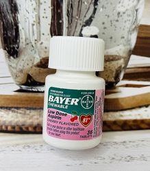 США Аспирин для сердца жевательный со фруктовым вкусом BAYER Aspirin 81 мг