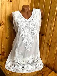 Белоснежная туника, летнее платье мини из хлопка Indiano, Fresh cotton,