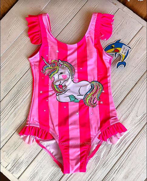 Розовый сдельный купальник для девочки с единорогом, украшенный пайетками