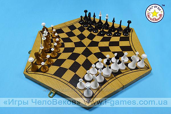Русские шахматы  шахматы на троих доска сосна  61 см/шестигранная