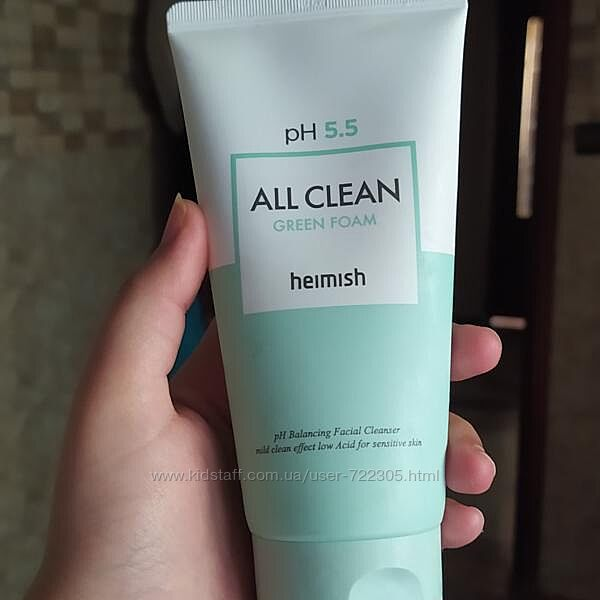 Нежная пенка для очищения Heimish All Clean Green Foam  150мл
