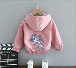 Ветровка с единорогом для девочек 90-120 см разные цвета, легкая куртка