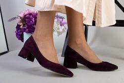 Туфли лодочки  женские из велюра. Каблук 4,5 см. Кожа, замш - 3 цвета