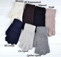 Новые женские перчатки ангора темно-синие