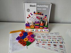 Деревянная пирамидка сортер Геометрик Block matching puzzle game. В наличии