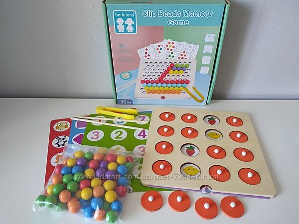 Деревянная игра 2 в 1 Мозаика и Memo, шарики, пинцет, палочки MD 2467. В на
