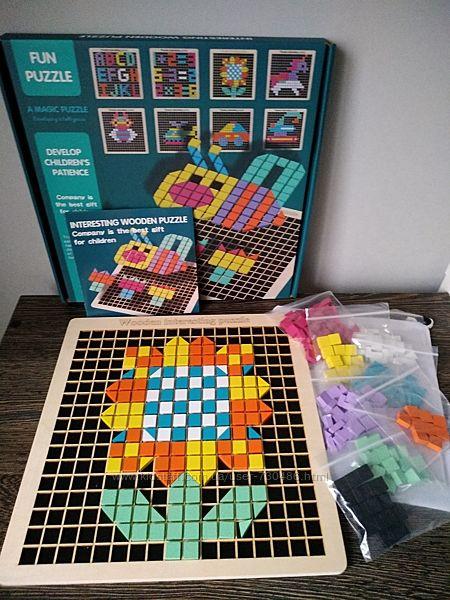 Деревянная пиксельная мозаика Interesting Wooden Puzzle. В наличии.