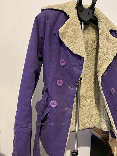 Короткое пальто-жакет, меховушка внутри, S