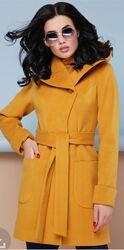 Кашемировое пальто горчичного цвета kornev размер 36/S/42