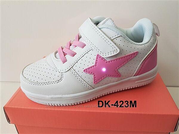 Весенние кроссовки-мокасины для девочки с мигающей звездой р.27-32
