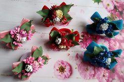 Бархатные бантики резинки с цветами