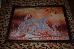 Алмазная вышивка. Готовая картина в рамке под стеклом