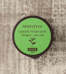 Корейская ночная маска для лица в капсуле Innisfree Green tea