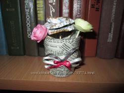 интересный букетик из роз hand made