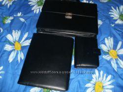 Шикарный деловой портфель из экожи, в комплекте папка, блокнот- калькулятор