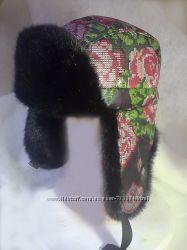 Шапка ушанка плащевая с искусственным мехом