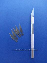 нож канцелярский макетный модельный трафаретный со сменными лезвиями 6 шт.