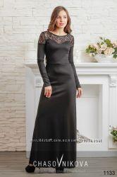 Вечернее платье трикотаж - гипюр