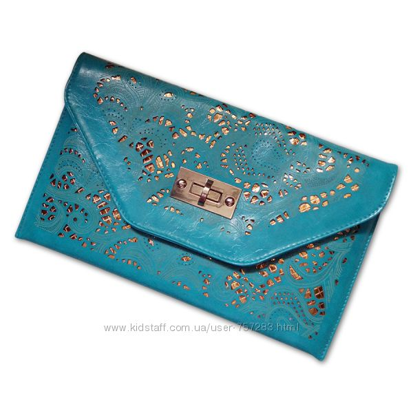 d0dff3d43811 Стильный клатч-конверт из перфорированной эко-кожи бирюзовый, 100 грн.  Женские сумки - Kidstaff   №18143981