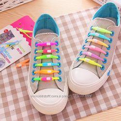 6шт Силиконовые ленивые шнурки - 2 вида цветные и светящиеся неоновые