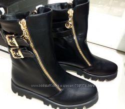 Модные демисезонные ботинки сапожки эко-кожа, замш с камнями 2016