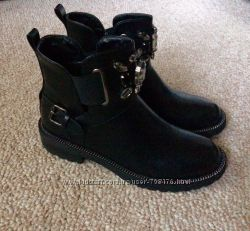 Женские демисезонные ботинки челси на низком каблуке с камням 36-40р