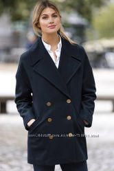 Новое темно-синее шерстяное пальто  Ellos размер 24 UK 60 lana wool