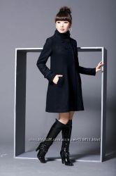 Новое черное шерстяное пальто Yassica  Германия размер 16 uk 80  wool lana
