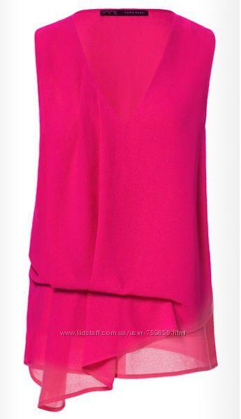 Нарядная блуза ZARA оттенка фуксии размер L