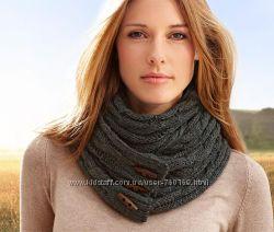 Теплый мягкий вязаный женский темно- серый шарф от ТСМ Tchibo