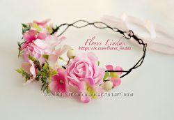 Нежный розовый веночек для волос