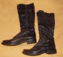 Модные красивые коричневые кожаные демисезонные сапоги LARA - 39 размер