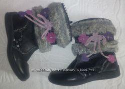 Черные демисезонные кожаные сапожки на девочку - 29 размер, 18, 5 см