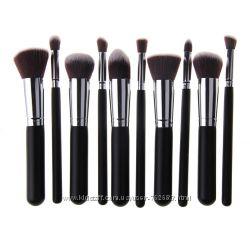 Профессиональные кисти для макияжа, набор кистей 10шт чёрные с серебром