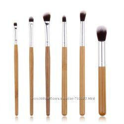 Набор кистей для макияжа с деревянными ручками 6шт, кисти из бамбука.