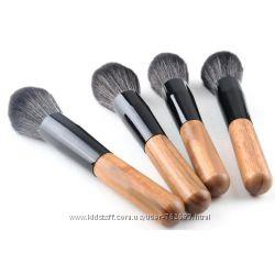 Кисть для пудры и румян с деревянной ручкой, кисточка для макияжа