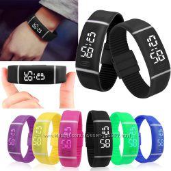 Силиконовые светодиодные Led часы-браслет унисекс разных цветов
