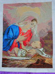 Икона, вышита крестом Божья матерь с младенцем