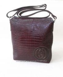 Кожаная сумка - планшет мужская - унисекс Gucci натур кожа