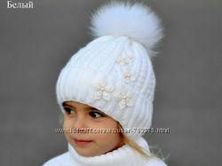 зимняя шапка с песцовым бубоном от 4хлет 52-56см обхват