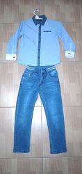 Джинсы на резинке 116 см, 6 лет с рубашкой